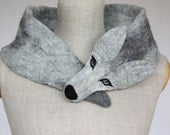 Silver Wolf - felted wool animal scarf / stole / shrug