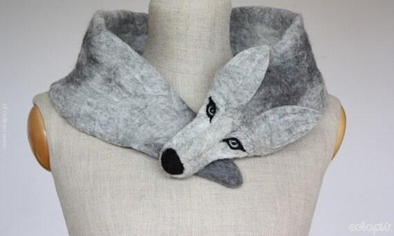 Silver Wolf - felted wool animal scarf / stole / shrug