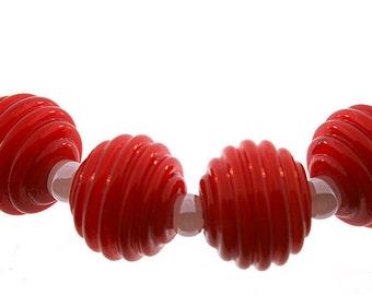 Lampwork beads, Handmade Bright Red Round Ribbed Lampwork Beads, Made to Order, Bims Bangles, red lampwork beads, red ribbed lampwork beads