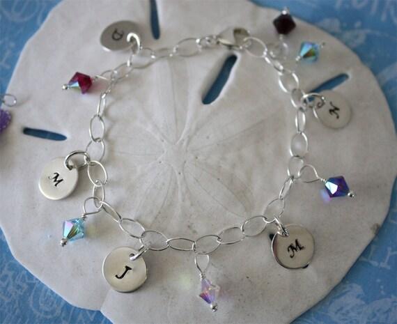 Personalized Mom Bracelet, 5 Initial Charms, Grandma Bracelet, Mother Bracelet, 5 Children, Monogram Bracelet, Birthstone