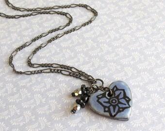 Blue Heart Necklace. Starflower. Cornflower Blue. Black Porcelain. Denim. Periwinkle. Black. Silver Gray. Gunmetal. Pendant. Wildflower