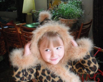 LEOPARD COAT Fleece and Feathers for little girls
