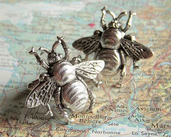 Large Bee Cufflinks Antiqued Silver Bees BIG & BOLD Vintage Style Gothic Victorian Bees Men's Cufflinks Men's Accessories Men's Gifts New