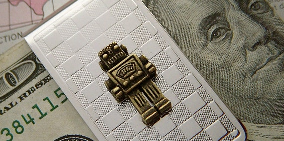 Robot Money Clip Men's Steampunk Accessories Slim Art Deco Silver Plated & Rustic Brass Mixed Metal By Cosmic Firefly