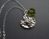 Sterling Silver Frog Necklace - Lily Pad Necklace - Sterling Silver Nature Inspired Necklace - Frog Gift - Frog Lover Gift - Frog Jewelry
