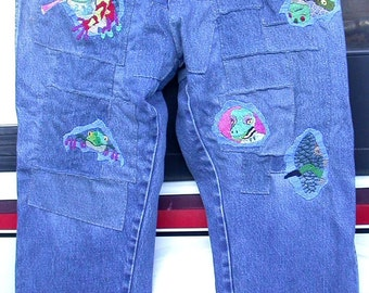 Resurrected Jeans, Embroidered Patchwork Pants, Escape From Chaos, upcycled Rustlers, festival, hippie, recycle
