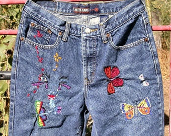Blue Denim Jeans, Spritely Delight, hand embroidered butterflies, Resurrected Jeans, butterfly, upcycled, boho, festival