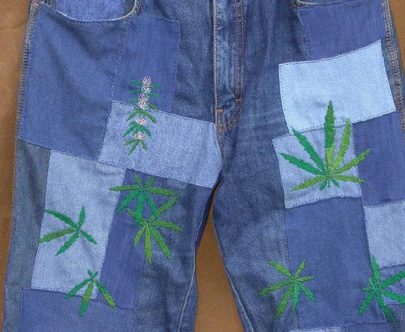 Potted Pants, vintage LaVie denim, Resurrected Jeans, 32 x 33, patched, embroidered, boho, hippie, festival, 420