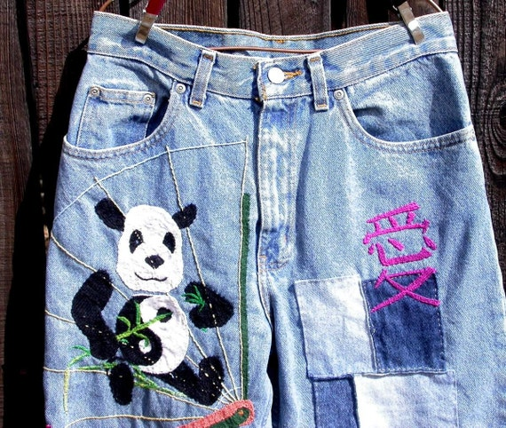 PhanPanda, Embroidered, patched, Faded Glory, Resurrected Jeans, panda bear, festival wear, denim patches