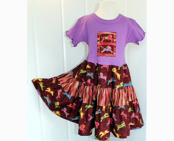 Horse Lovers Girls Purple Dress Fall Tween Girl Clothes Sizes 10 12 14 Carousel Horse Tiered Twirl Dress Cotton Kid Clothes Preteen Clothing