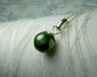Quiet Solitude - green pearl necklace / pearl necklace / green necklace / pearl jewelry /green pendant /wedding jewelry /bridesmaid necklace