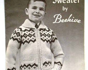 SALE * Vintage Scandia Sweater Pattern by Beehive Chieftan No.38 for Boys or Girls Charted Knitting Pattern with Graphs in Sizes 8, 10, 12