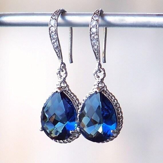 Sapphire Blue Jeweled Teardrop Earrings in Silver