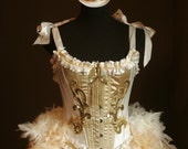 Gold Burlesque Costume OLYMPIAN White Corset 1920s Great Gatsby dress