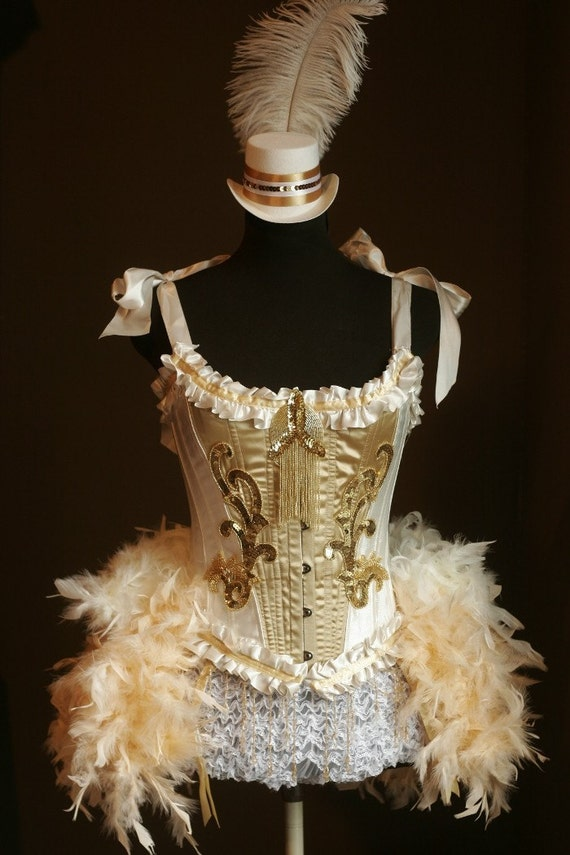 Gold OLYMPIAN White Burlesque Costume Corset 1920s Great Gatsby dress