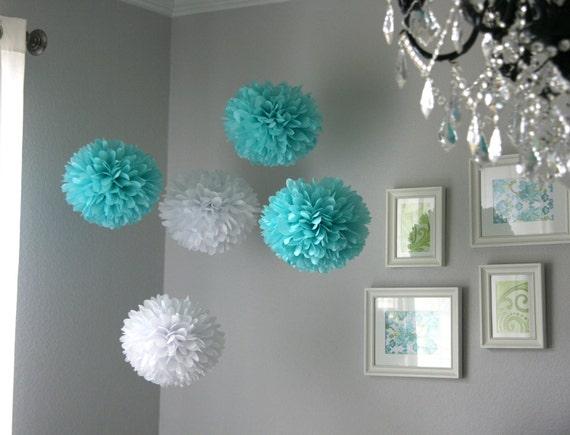 Tiffany .. Tissue Paper Poms .. Wedding Reception Decor .. Party Decoration .. DIY - set of 10