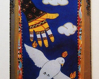 God's Hand and the Holy Spirit, Modern Catholic Religious Art & Icon, collage on steel using print from my original art, Christina Miller