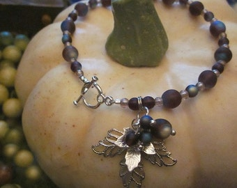 Silvery Bracelet with Frosty Glass Beaded Grapes and Leaves Charms Autumn Fall Jewelry