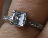 Valentines Day SALE! Asscher Engagement Ring/ Square Cut 1ct Diamond/ Platinum Band/ Art Deco 20s Style/ VS1 H Color/ Vintage Wedding