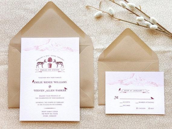 Oh Deer Woodland Wedding Invitations - Winter Wedding - Nature Wedding - Mountain Wedding - Rustic Wedding