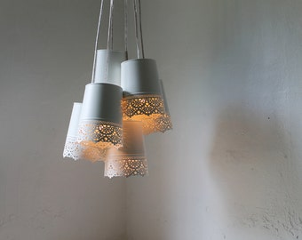 Lace Chandelier Lamp, White Metal Lace Pendants Hanging Chandelier Lighting Fixture, Modern Rustic BootsNGus Lighting and Home Decor
