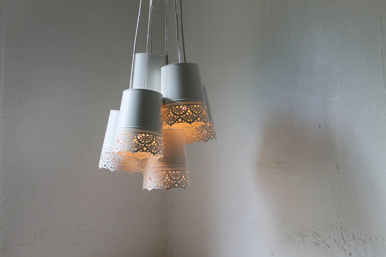 Lace Chandelier Lamp White Metal Lace Pendants Hanging