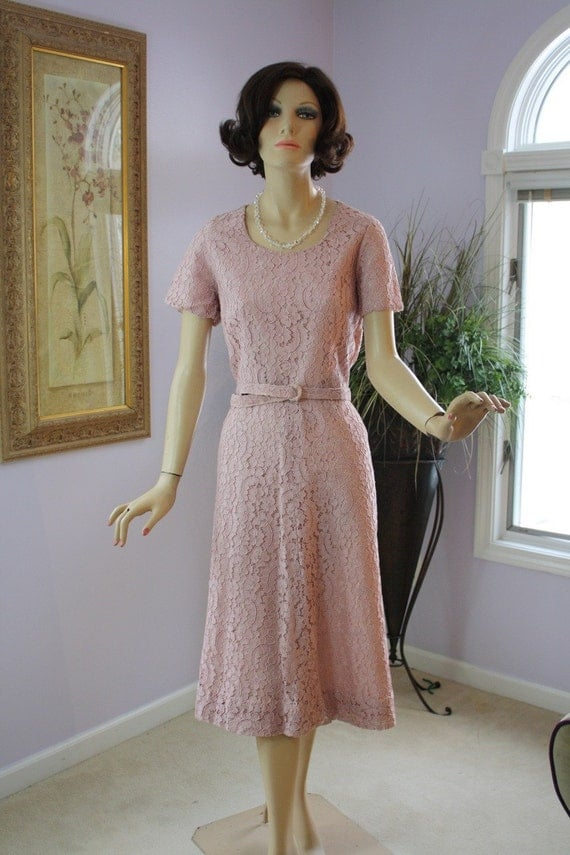 Vintage 50's Lace Dress Dusty Rose Pink Dinner Evening Party Wedding Formal Dress