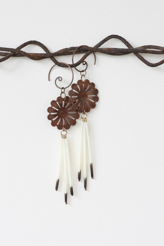 Porcupine Quill Eco Friendly Earrings - Desert Thistle