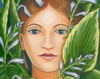 Lady of the Variegated Hostas ORIGINAL PAINTING Sheryl Humphrey oil on linen green plant spirit Unique Gift for Gardener - Free USA shipping