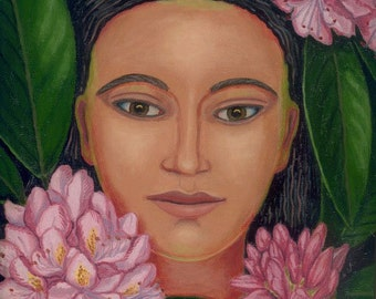Woman in the Rhododendrons ORIGINAL PAINTING framed pink flowers green leaves plant spirit calm Unique Gift for gardener - Free USA shipping