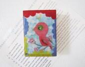 Littlel Bird Refrigerator Magnet - Parakeet Refrigerator Magnet - Upcycled Art Block Magnet - Collage Bird Magnet