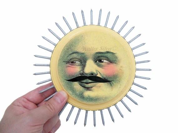 SUN with a Mustache Wall Plaque -  Happy SUN Assemblage Wall Sculpture - Mustached Sun Wall Art - Housewarming Decoration