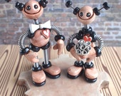 Robot Wedding Cake Topper MADE TO ORDER antique rustic couple - Clay, Wire, Paint