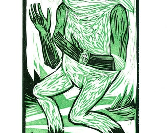 """Woodcut, """"Galactic Drifter"""", Hand-printed Reduction Woodcut, Limited Edition"""
