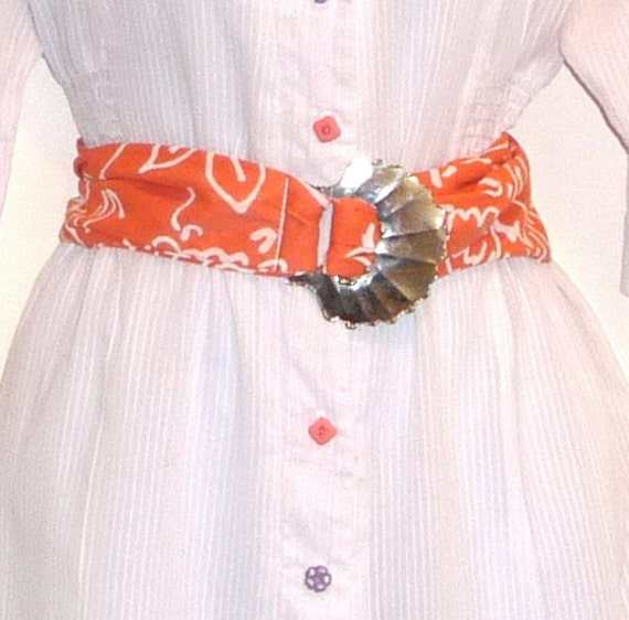 TREASURY ITEM - To Size Large - Shell - Belt - Metal Shell - Upcycled - Repurposed - Belt - Coral - Salmon - Abstract - Beach - Resort