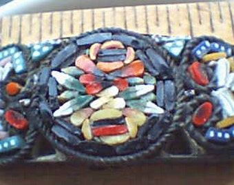 Bracelet Ancient Bracelet Inlaid Handmade, Vintage, Brass Back Beautiful... museum piece