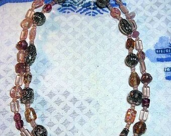 CLEARANCE SALE - Vintage Long Pink Double Strand Glass Necklace (N-1-5)