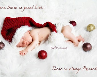 Newborn Christmas Hat - Christmas Gift - Kids Christmas Outfit Cap - Baby Christmas Hat - Babies First Christmas - Christmas Photo Prop