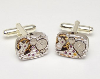 Steampunk Cufflinks vintage Rare Hamilton watch movements anniversary wedding Groom gift silver cuff links men jewelry Steampunk Nation 2746