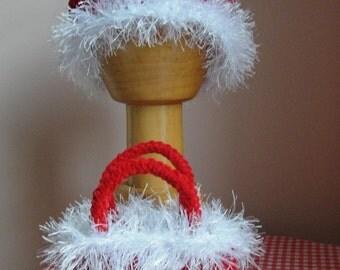 Girl Hat and Purse CROCHET PATTERN Santa Holiday Winter Christmas 4 SIZES