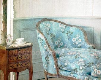 art print- Tea at boudoir--original photo processed at PS ---8x8 inch print