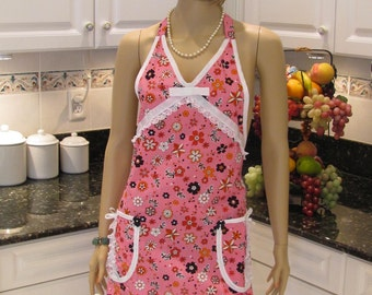 SEXY STYLE APRON,Full , Apron, modern style, Pink Floral Girly Full Apron, two pockets