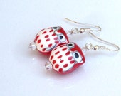 Red Owl Earrings, Ceramic Owls, Red and White with Silver Hooks, Chi Omega Earrings