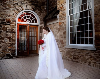 Classic Winter Bridal cape 67-inch White / White Satin with Fur Trim Wedding Cloak Handmade in USA