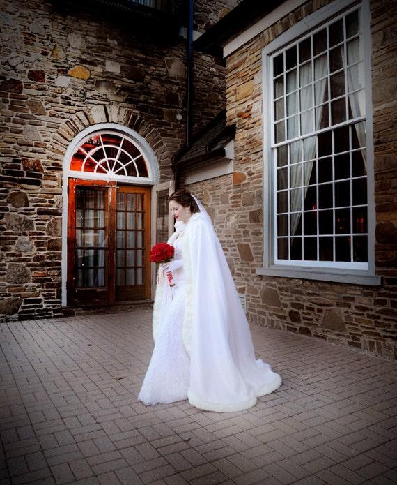 62 inch Bridal cape  White / White Satin with Fur Trim Wedding Cloak Handmade in USA
