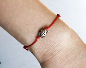 Ladybug Bracelet, Ladybug Anklet (many colors to choose)