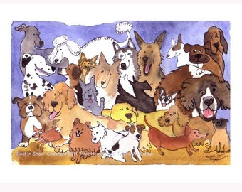 Watercolor Painting Print Funny Dogs Art - Dog Illustration Dog Print - Dog Art - Dog Breeds Watercolor Illustration Portrait 'Best In Show'