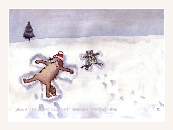 Funny Dog and Cat Snow Angels Winter Greeting Card- Funny Pets Dog and Cat Happy Holidays Card, Cat and Dog Christmas Greeting Card