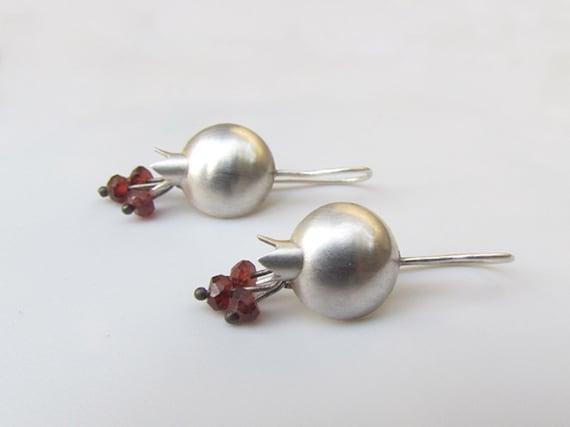 Pomegranate Sterling Silver & Garnet Earrings