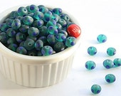 teal blue lampwork beads, 10mm glass beads, lot of 9 lampwork beads : teal blue, matte blue, dots, dotted